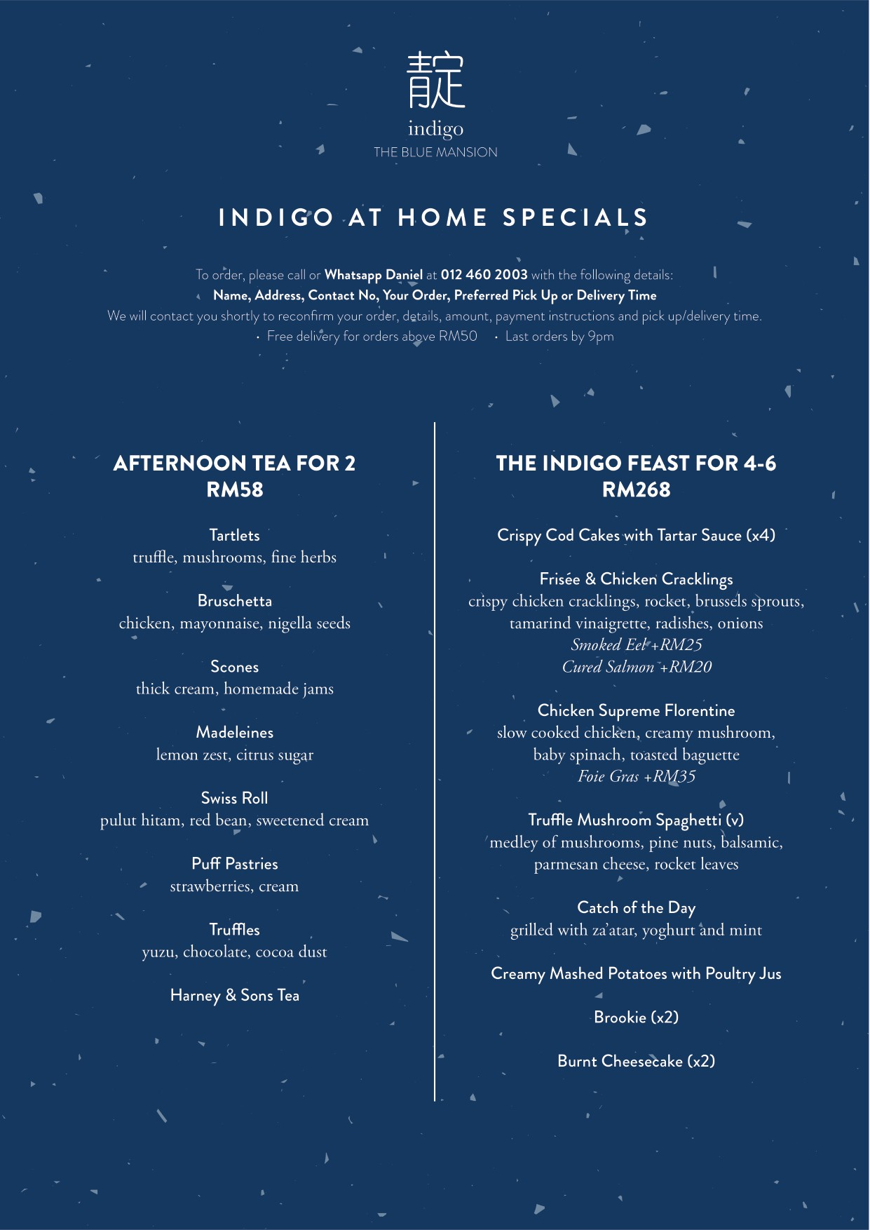 Indigo at home specials  by The Blue Mansion