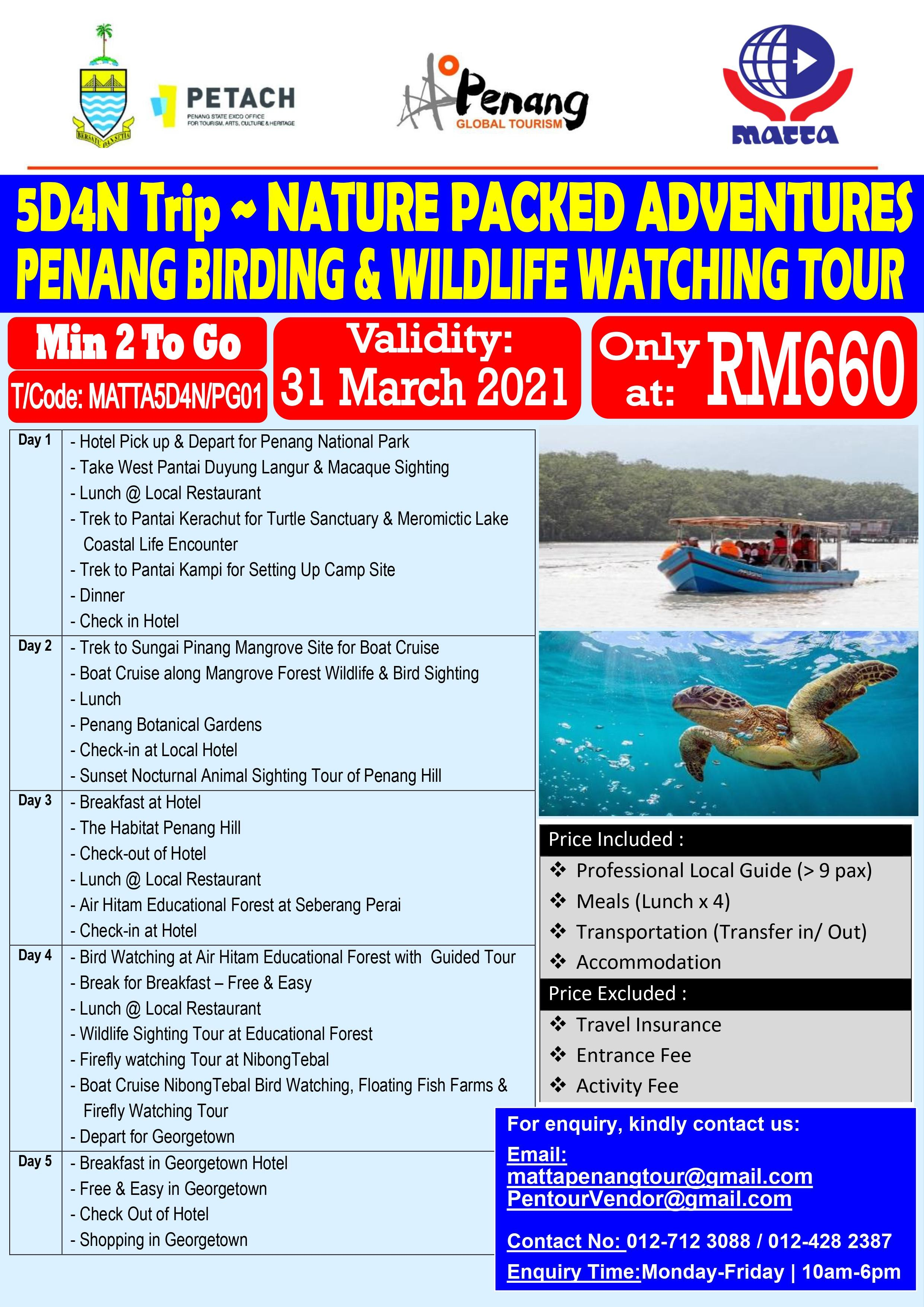 Birding Wildlife Tour of Penang - 5D 4N