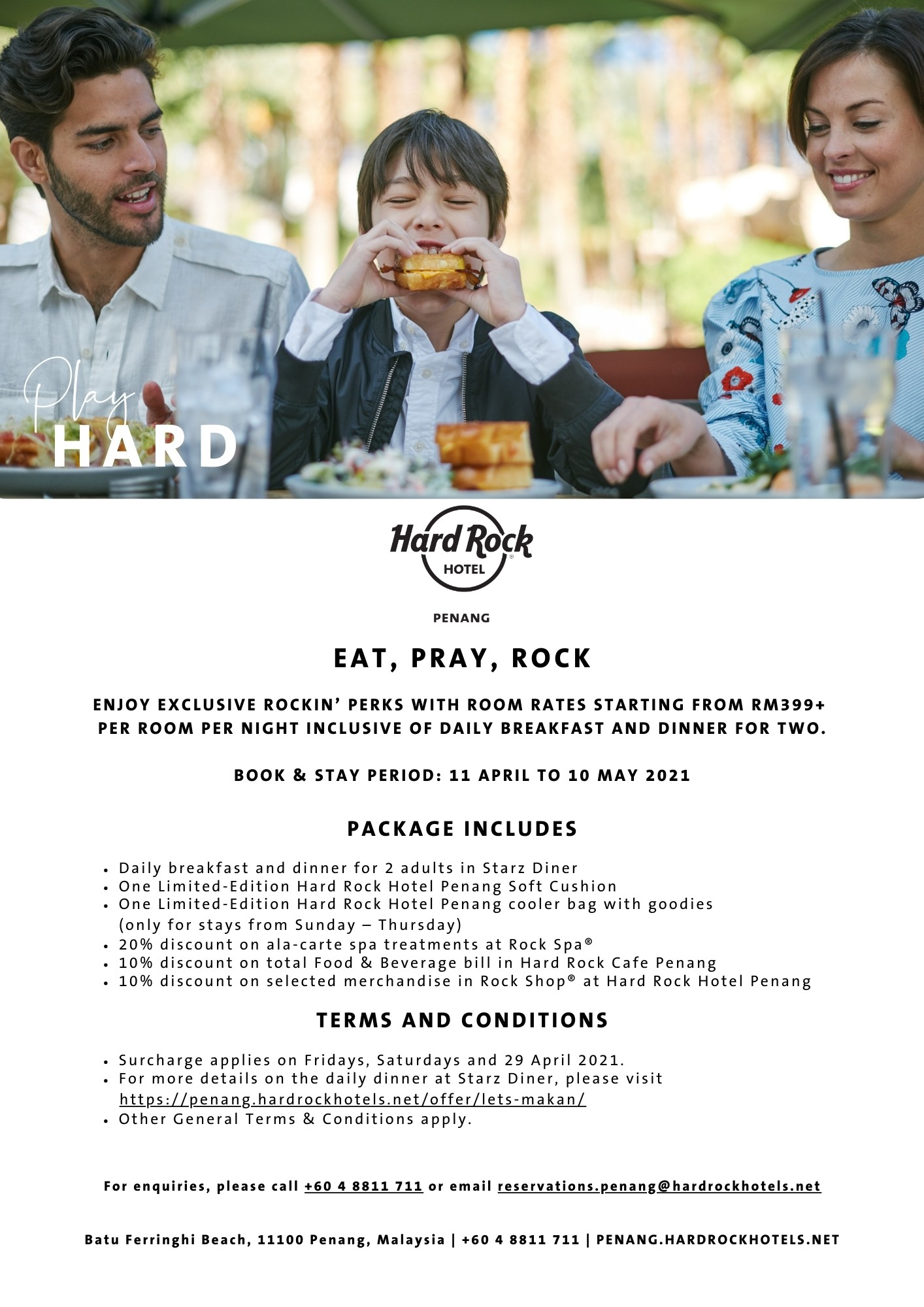 Eat, Pray, Rock Room package  Hard Rock Hotel Penang