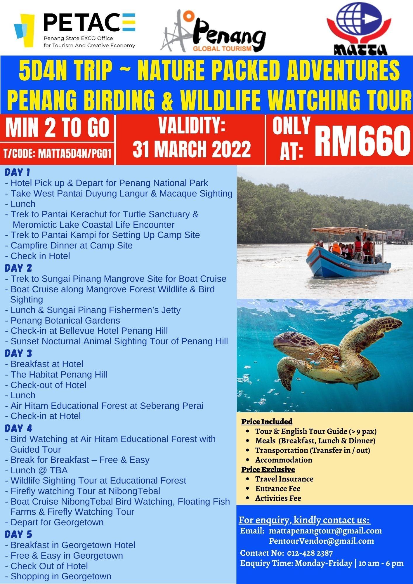 5D4N Trip ~ Nature Packed Adventures Penang Birding & Wildlife Watching Tour