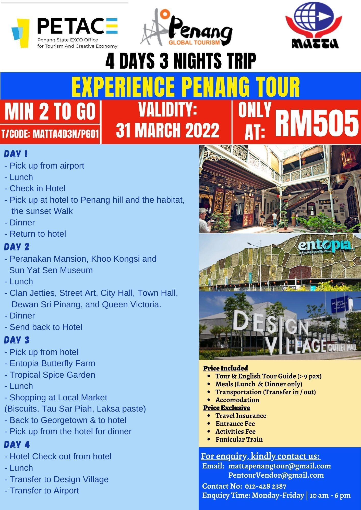 4 Days 3 Nights Trip - Experience Penang Tour